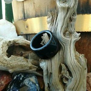 Other - Men's ring natural black Jade